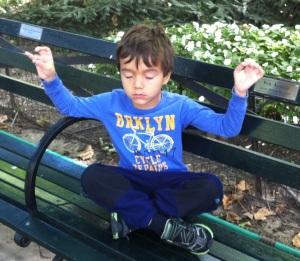 Armando meditating in Central Park