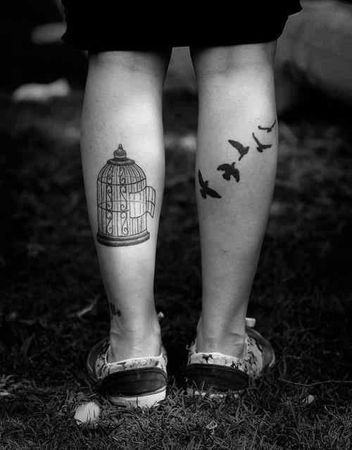 caged birds tattoo